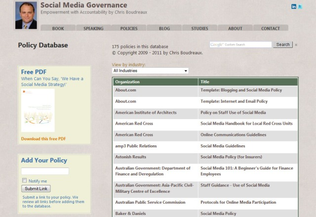 Database of Social Media Policies