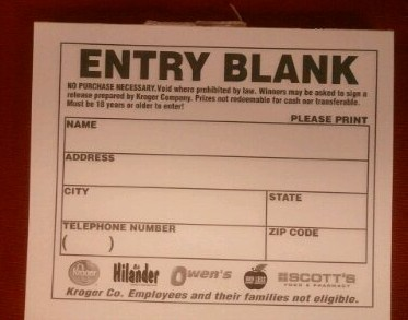 What's Missing from this Kroger Entry Form?